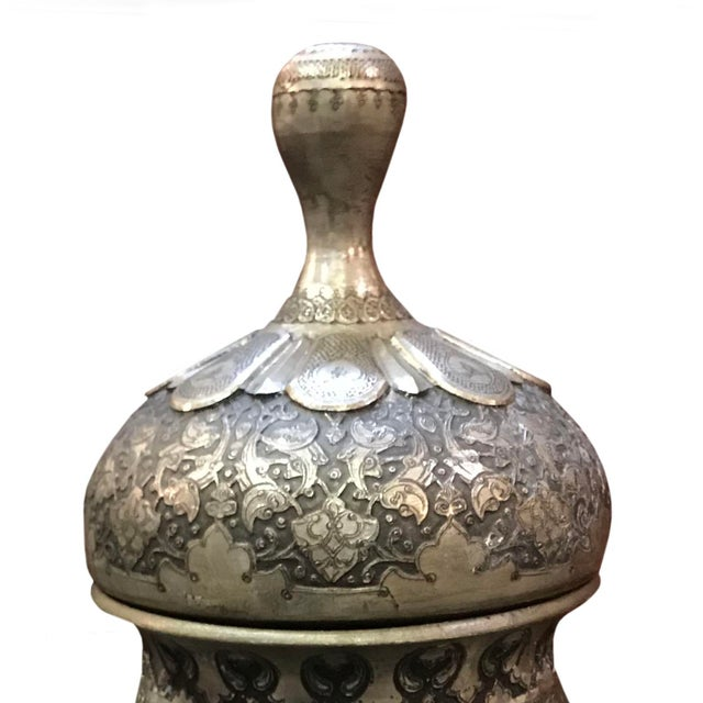 Persian Antique 19th Century Middle Eastern Silver Urn For Sale - Image 3 of 6