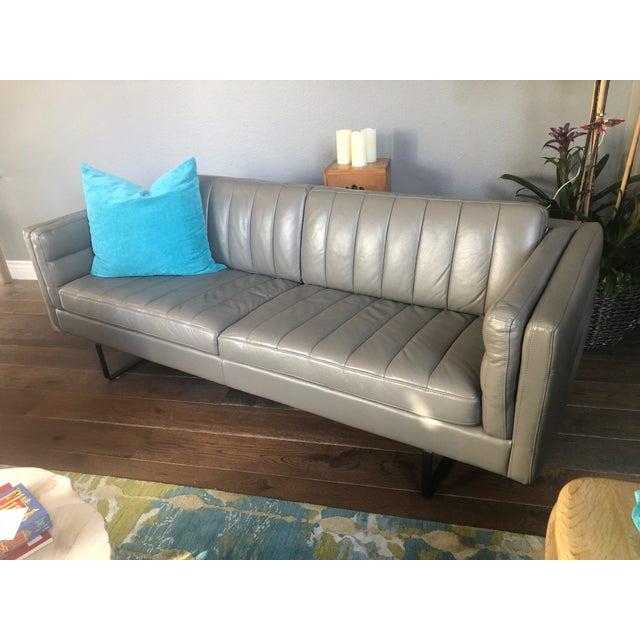 Modern Italian Mid-Century Style Leather Sofa | Chairish