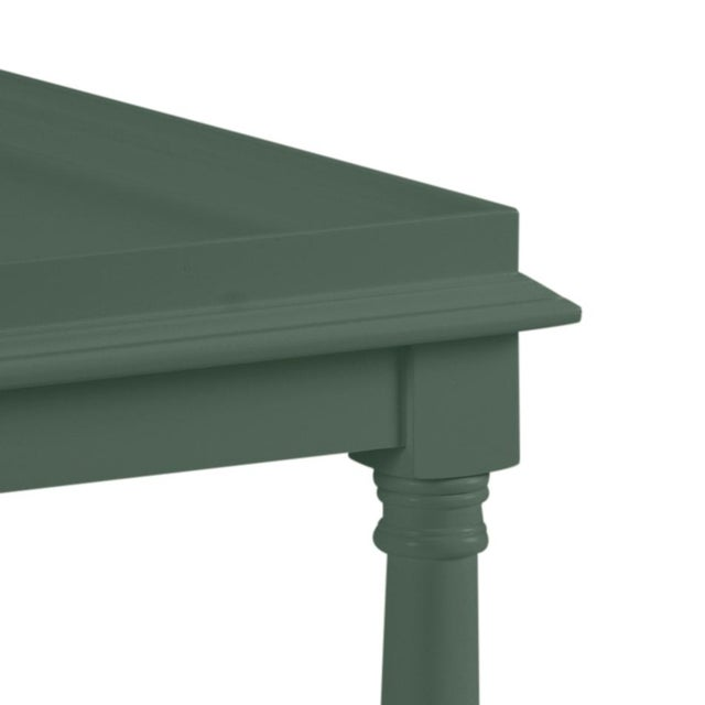 This acacia wood side table features a single shelf and turned legs. The color is Benjamin Moore Dakota Shadow with a...