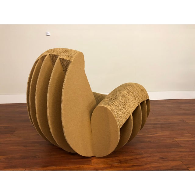 Rocking Lounge Chair Made Entirely of Cardboard For Sale - Image 4 of 13