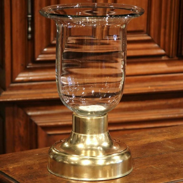 Metal 19th C French Brass With Blown Glass Candleholder For Sale - Image 7 of 7