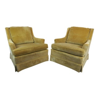 Vintage Mid-Century Modern Gold/Chartreuse Velvet Modern Wing Chairs - a Pair For Sale