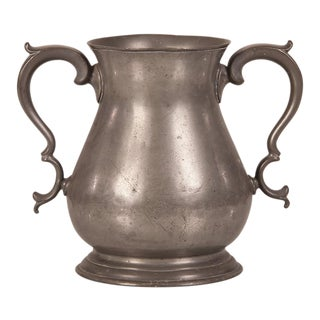 Large Pewter Urn with Two Shaped Handles from England c.1850 For Sale