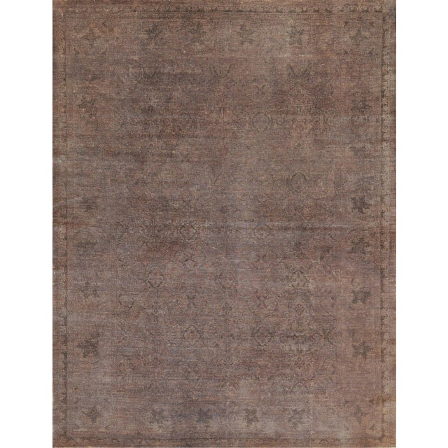 Brown Handwoven Wool Agra Style Rug For Sale - Image 8 of 8