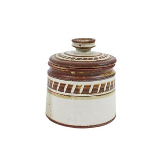 1960s Boho Chic Hand Thrown Studio Pottery Jar For Sale
