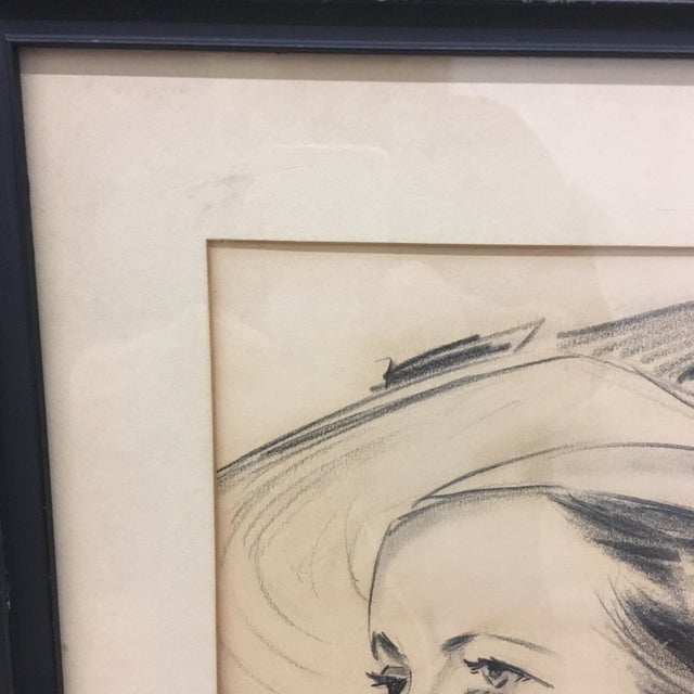 1937 portrait in graphite. Signed, framed Stylized