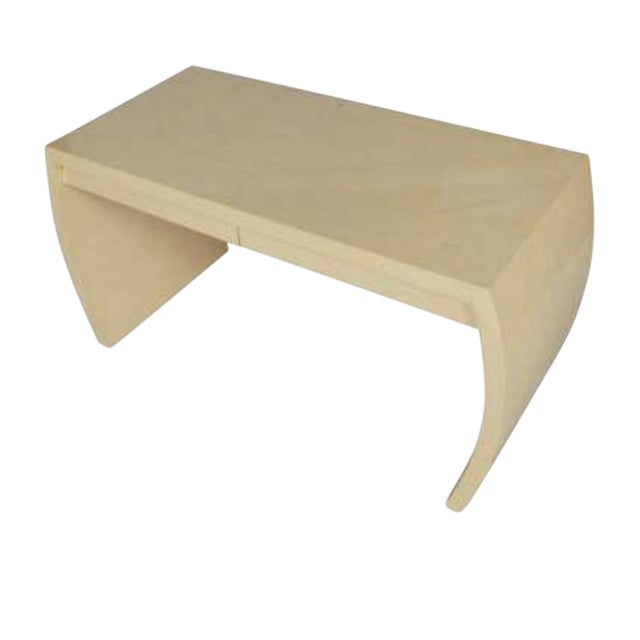 1970s Mid-Century Modern Faux Goatskin Desk or Console For Sale