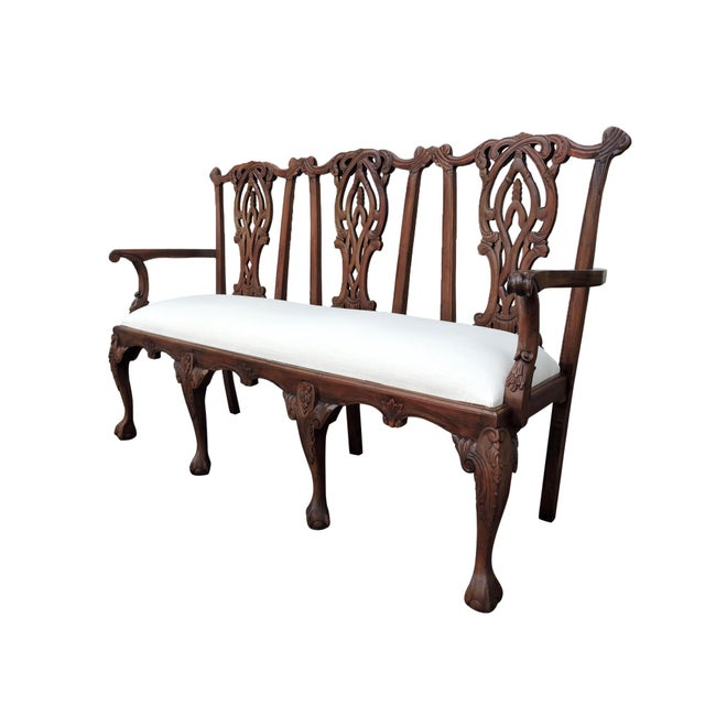 Thomas Chippendale Antique Three Seat Upholstered Chippendale Bench Settee For Sale - Image 4 of 8