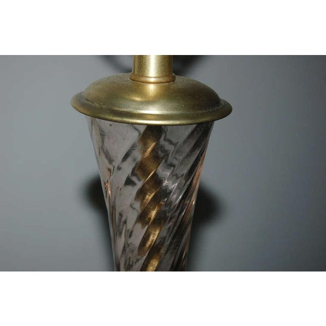 The Marbro Lamp Company Marbro Murano Glass Table Lamps in Peach Tea For Sale - Image 4 of 10
