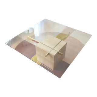 Italian Travertine and Glass Coffee Table
