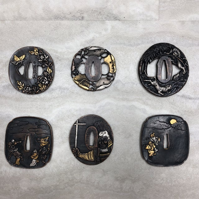 Gold Vintage Japanese Tsuba's - Set of 6 For Sale - Image 8 of 12