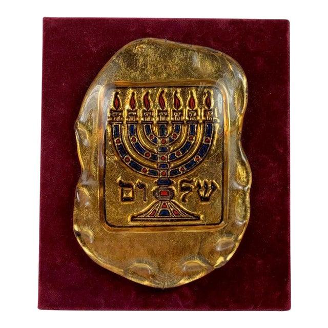 Murano Glass Judaica Gold Menorah Plaque For Sale