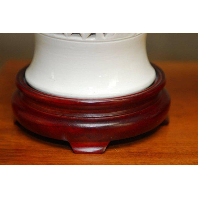 Brass Blanc de Chine Porcelain Ginger Jar Table Lamps - A Pair For Sale - Image 7 of 9