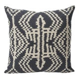 Image of Schumacher Asaka Ikat Linen Print Double-Sided Pillow For Sale