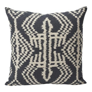 Schumacher Asaka Ikat Linen Print Double-Sided Pillow For Sale