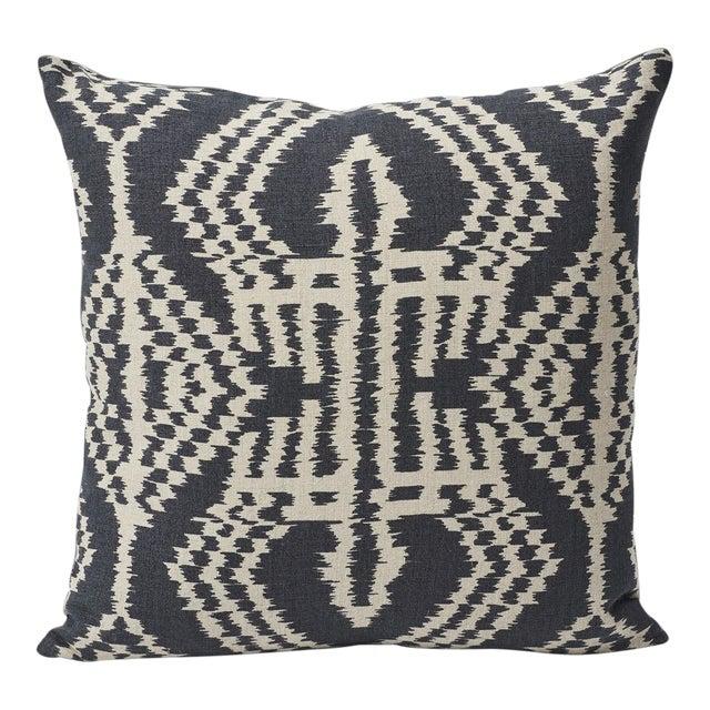 Schumacher Asaka Ikat Linen Print Double-Sided Pillow For Sale