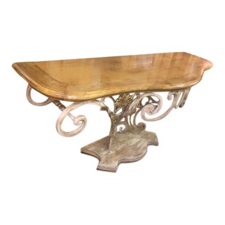 Wrought Iron & Wood Console Table For Sale