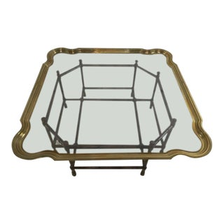 Vintage Chinoiserie Baker Furniture Faux Bamboo, Brass and Glass Coffee Table For Sale