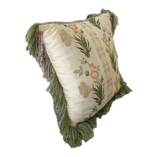 Embroidered Silk and Velvet Throw Pillow For Sale