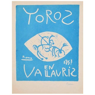Picasso Linocut Toros Vallauris 1957 Signed Arnera 38/200 For Sale