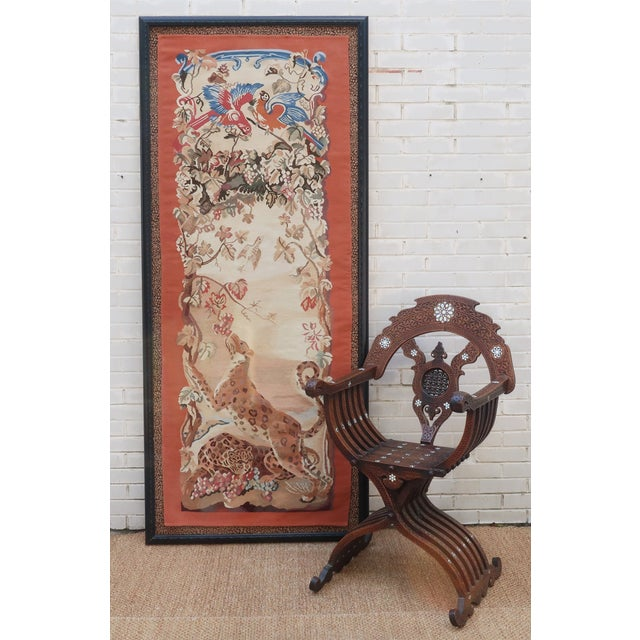 Vintage Framed Stark Romanian Aubusson Tapestry Rug With Leopards For Sale - Image 10 of 13