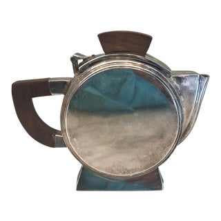 1920's Small Art Deco Metal & Wood Tea Pot
