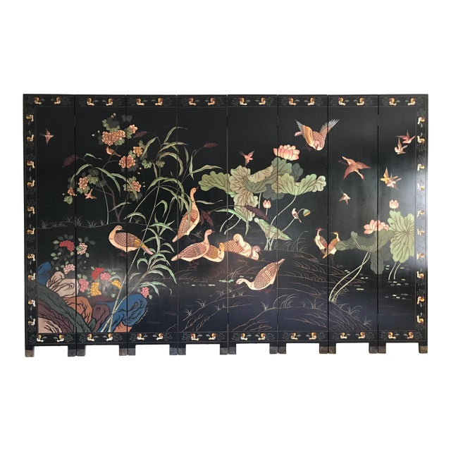 1980s Maitland-Smith Eight Panel Asian Lacquered Wood Screen Room Divider For Sale