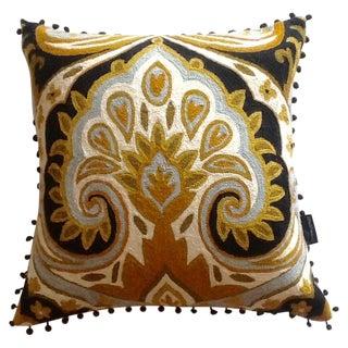 Vintage Cynthia Rowley Wool Crewel Pillow