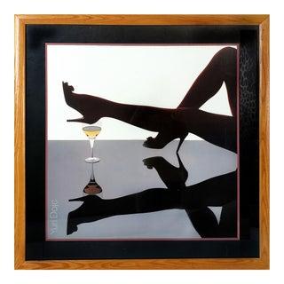 """1980s """"Champagne & Leg"""" Poster by Yuri Dojc For Sale"""