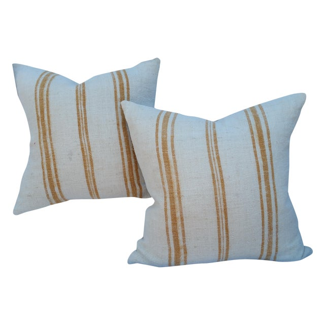 Faded Ochre Grain Sack Pillows - Pair - Image 1 of 6