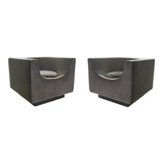 Bernard Govin for Saporiti 1970s 'Cube' Armchair Pair For Sale