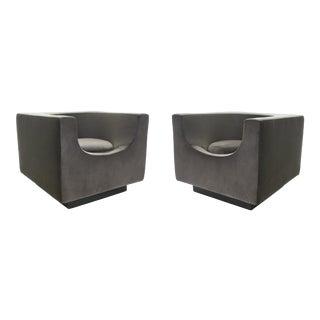 Bernard Govin for Saporiti 1970s 'Cube' Armchair Pair For Sale