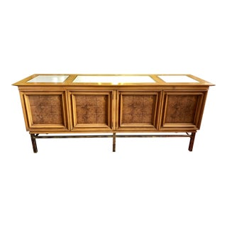 J L Metz Travertine, Burl and Brass Sideboard For Sale