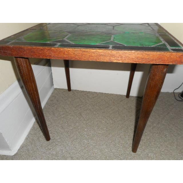 Mid Century Danish Tile Green Side Table - Image 5 of 7