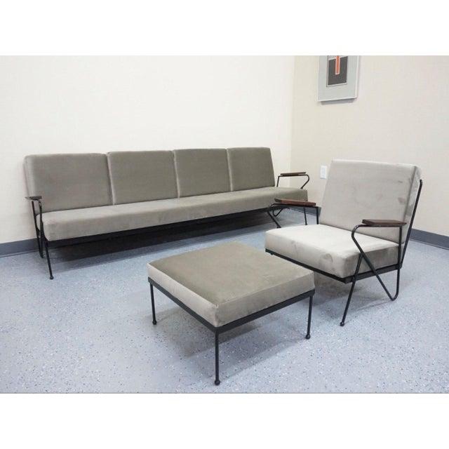 Modern Gray Velvet Sofa, Lounge & Ottoman - Set of 3 - Image 4 of 7