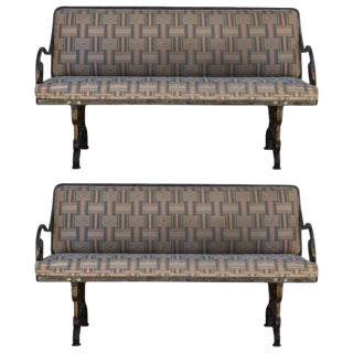 Comfortable French Art Nouveau Industrial Wrought Iron Benches - a Pair For Sale