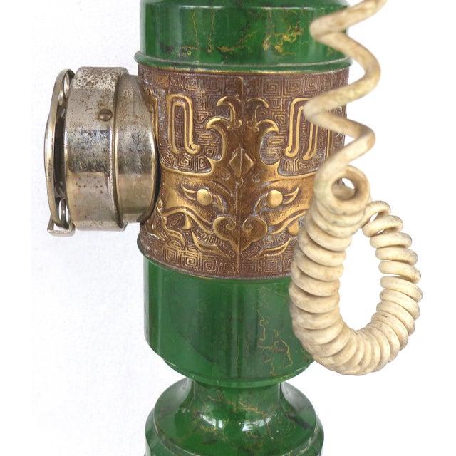 Brass Retro Standing Floor Green Enamel & Brass Column Telephone For Sale - Image 7 of 8