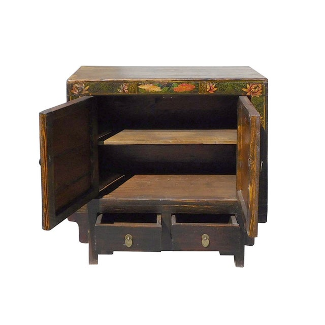 Oriental Black & Orange Floral Side Cabinet For Sale - Image 5 of 6