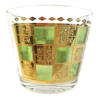 1950s Mid-Century 22k Embossed Prado Glass Ice Bucket For Sale
