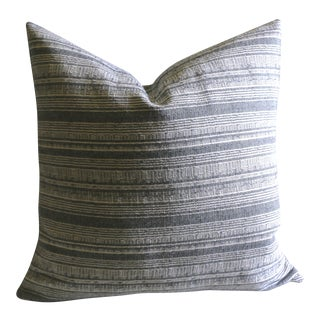 """18"""" Boho Chic Storm Grey and Ivory Hmong Pillow"""