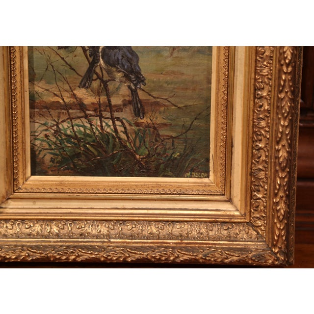 Canvas Pair of 19th Century French Birds Oil Paintings in Gilt Frames Signed Delor For Sale - Image 7 of 9