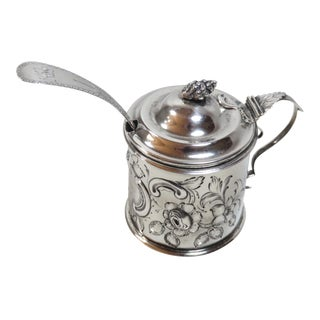 Antique American Coin Silver Mustard Pot Circa 1850 For Sale