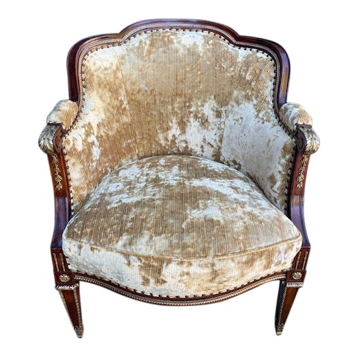 19th Century Vintage French Bronze Mounted Barrel Chair For Sale