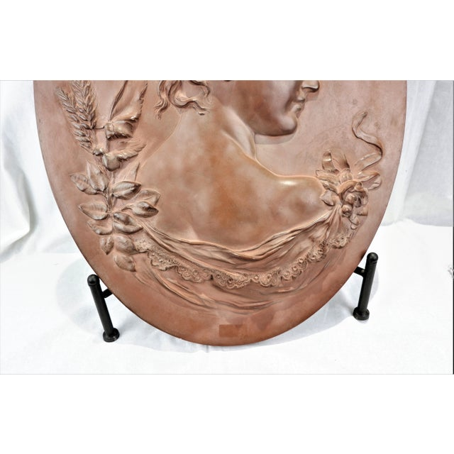 Victorian Vintage Hand Sculptured Terracotta Plaque Victorian Woman Signed Shields For Sale - Image 3 of 7