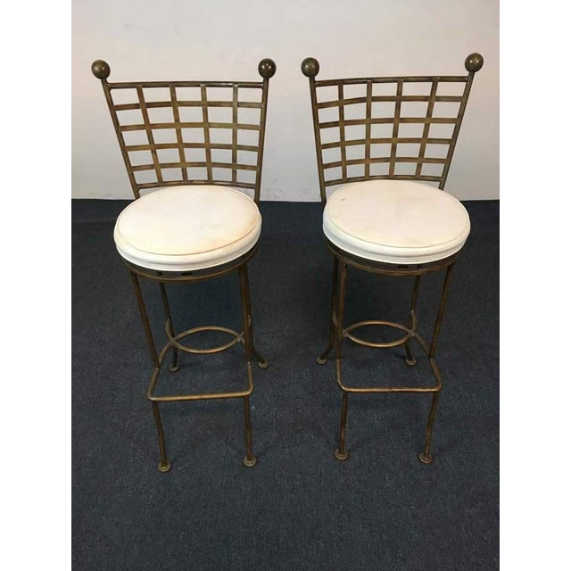 Contemporary Metal Lattice Back and Upholstered Bar Chairs - A Pair - Image 2 of 4