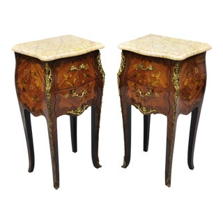 Louis XV French Style Bombe Form Floral Inlaid Marble Top Nightstands - A Pair