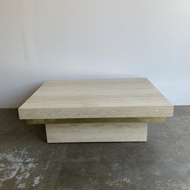Mid-Century Modern Faux Travertine and Brass Coffee Table For Sale - Image 3 of 12