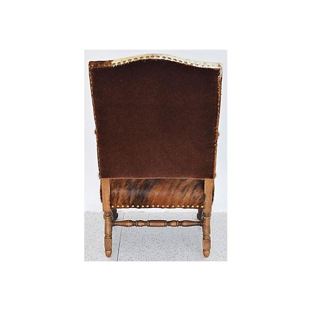 Antique Carved Oak & Cowhide Throne Armchair - Image 9 of 12