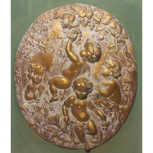 Traditional 1950s Vintage Cherub Putti Bas Relief Plaques - a Pair For Sale - Image 3 of 12