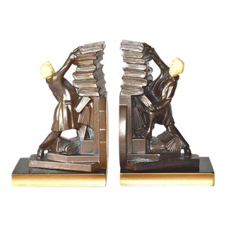 """JB Hirsch """"Hold Those Books"""" Bookends 1932 - A Pair"""